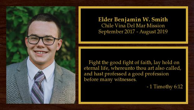September 2017 to August 2019<br/>Elder Benjamin W. Smith