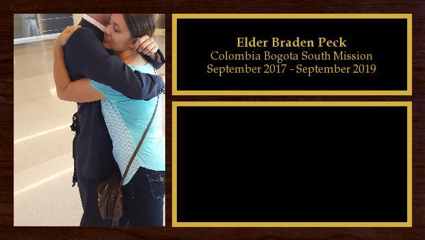 September 2017 to September 2019<br/>Elder Braden Peck