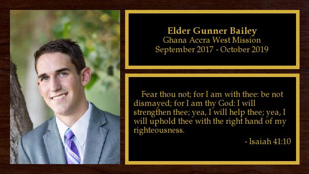 September 2017 to August 2019<br/>Elder Gunner Bailey