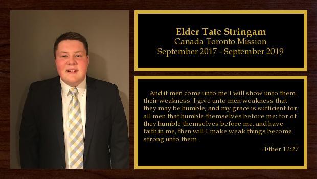 September 2017 to September 2019<br/>Elder Tate Stringam