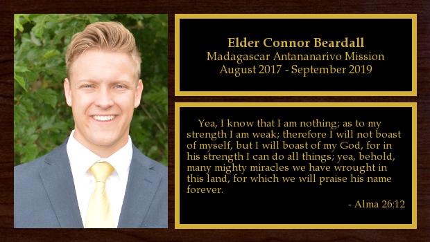 August 2017 to September 2019<br/>Elder Connor Beardall
