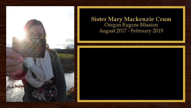 August 2017 to September 2018<br/>Sister Mary Mackenzie Crum