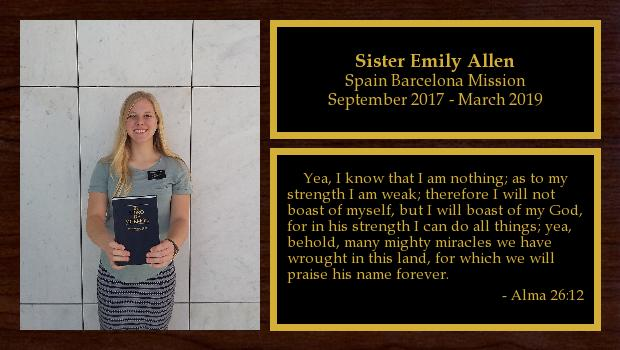 September 2017 to March 2019<br/>Sister Emily Allen
