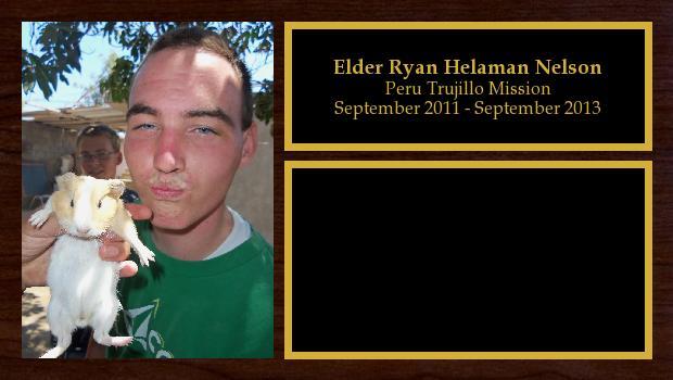 September 2011 to September 2013<br/>Elder Ryan Helaman Nelson
