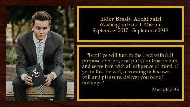 September 2017 to September 2019<br/>Elder Brady Archibald