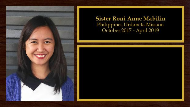 October 2017 to April 2019<br/>Sister Roni Anne Mabilin