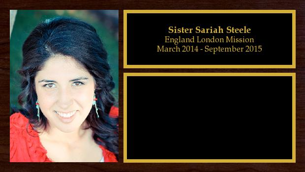 March 2014 to September 2015<br/>Sister Sariah Steele
