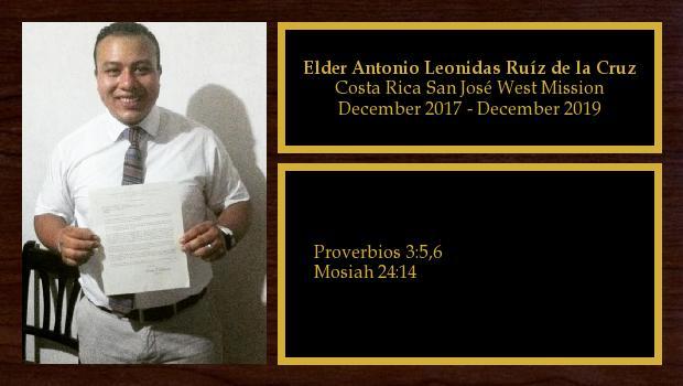 December 2017 to December 2019<br/>Elder Antonio Leonidas Ruíz de la Cruz