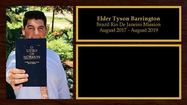 August 2017 to August 2019<br/>Elder Tyson Barrington
