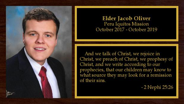 October 2017 to October 2019<br/>Elder Jacob Oliver