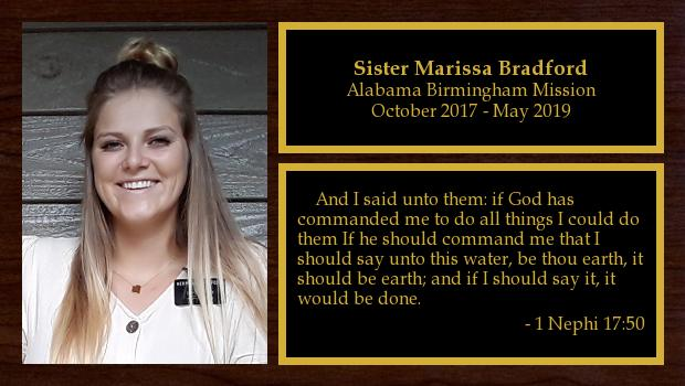 October 2017 to May 2019<br/>Sister Marissa Bradford