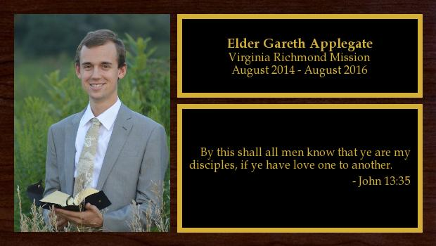 August 2014 to August 2016<br/>Elder Gareth Applegate