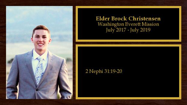 July 2017 to July 2019<br/>Elder Brock Christensen