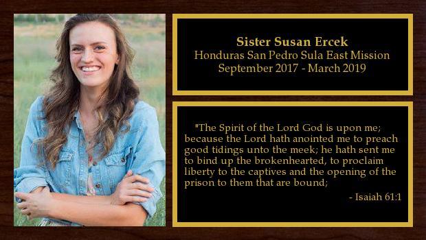 September 2017 to March 2019<br/>Sister Susan Ercek