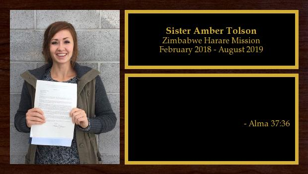 February 2018 to May 2019<br/>Sister Amber Tolson