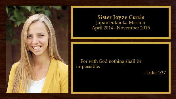 April 2014 to November 2015<br/>Sister Joyze Curtis