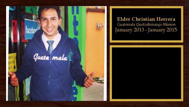 January 2013 to January 2015<br/>Elder Christian Herrera