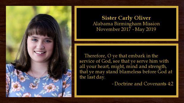 November 2017 to May 2019<br/>Sister Carly Oliver