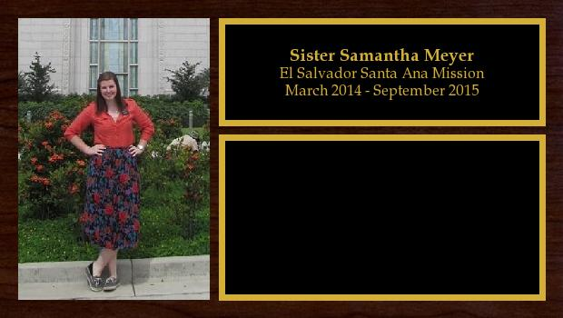 March 2014 to September 2015<br/>Sister Samantha Meyer