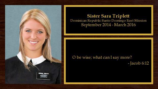 September 2014 to March 2016<br/>Sister Sara Triplett
