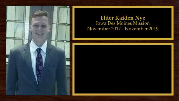 November 2017 to November 2019<br/>Elder Kaiden Nye