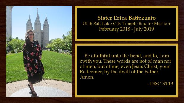 February 2018 to August 2019<br/>Sister Erica Battezzato