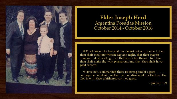 October 2014 to October 2016<br/>Elder Joseph Herd