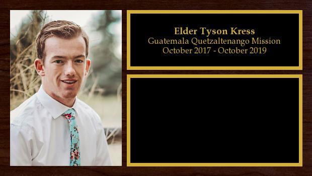 October 2017 to October 2019<br/>Elder Tyson Kress