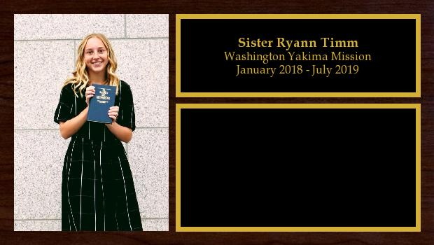 January 2018 to July 2019<br/>Sister Ryann Timm