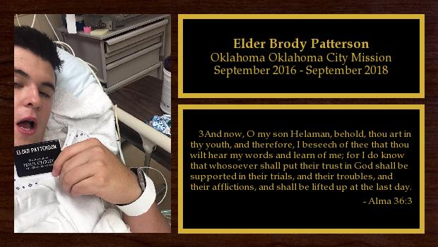 September 2016 to September 2018<br/>Elder Brody Patterson