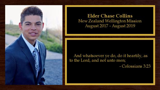 August 2017 to August 2019<br/>Elder Chase Collins