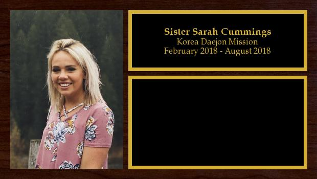 February 2018 to August 2018<br/>Sister Sarah Cummings