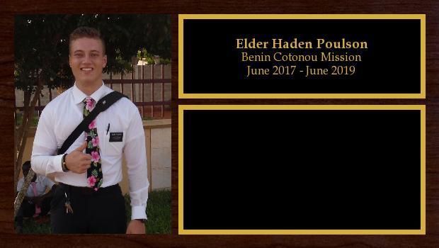 June 2017 to May 2019<br/>Elder Haden Poulson