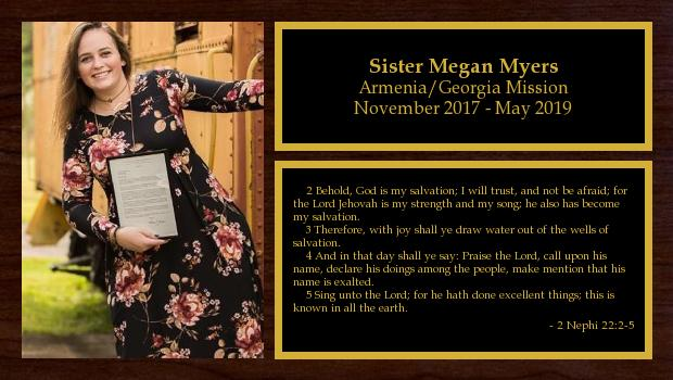November 2017 to May 2019<br/>Sister Megan Myers