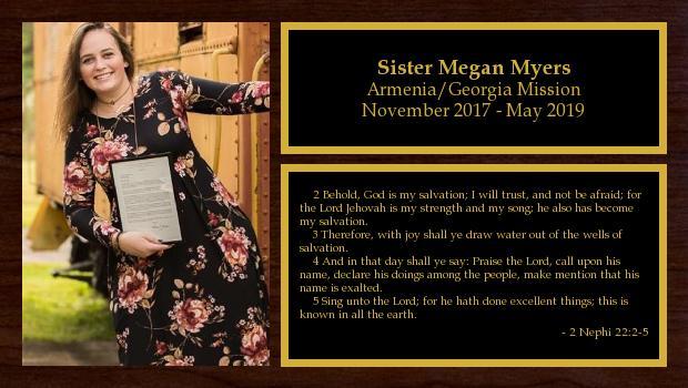 November 2017 to May 2019<br/>Sister Megan Myers