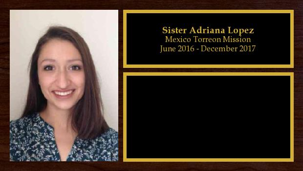 June 2016 to December 2017<br/>Sister Adriana Lopez