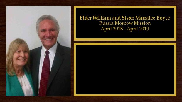 April 2018 to April 2019<br/>Elder William and Sister Marralee Boyce