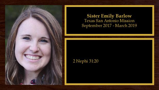 September 2017 to March 2019<br/>Sister Emily Barlow