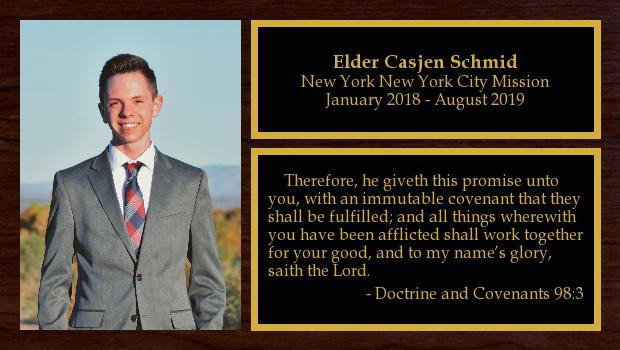January 2018 to August 2019<br/>Elder Casjen Schmid