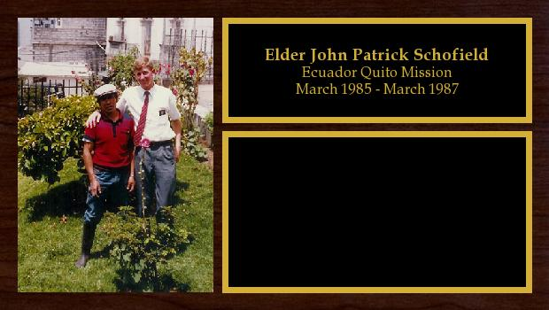 March 1985 to March 1987<br/>Elder John Patrick Schofield
