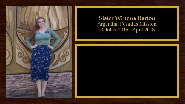 October 2016 to April 2018<br/>Sister Winona Barton