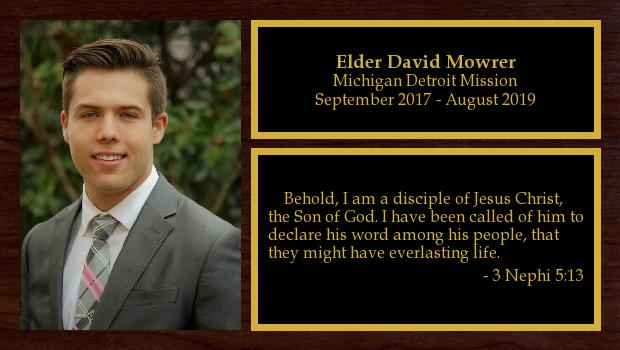 September 2017 to August 2019<br/>Elder David Mowrer