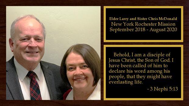 September 2018 to August 2020<br/>Elder Larry and Sister Chris McDonald