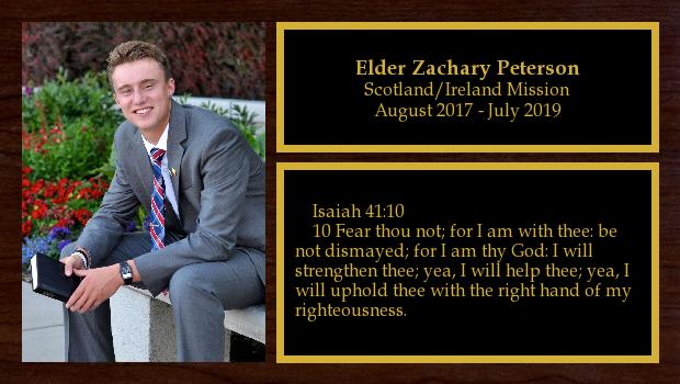 August 2017 to July 2019<br/>Elder Zachary Peterson