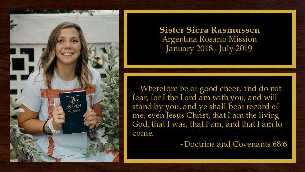January 2018 to July 2019<br/>Sister Siera Rasmussen