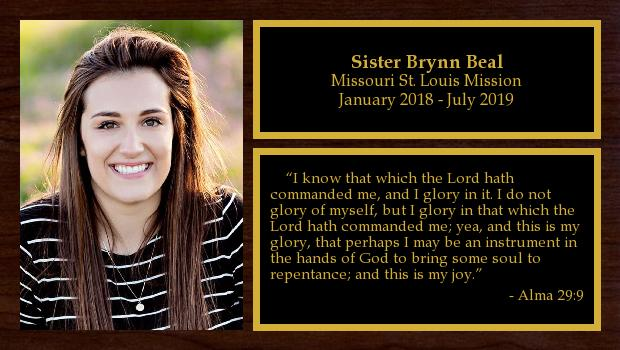 January 2018 to June 2019<br/>Sister Brynn Beal