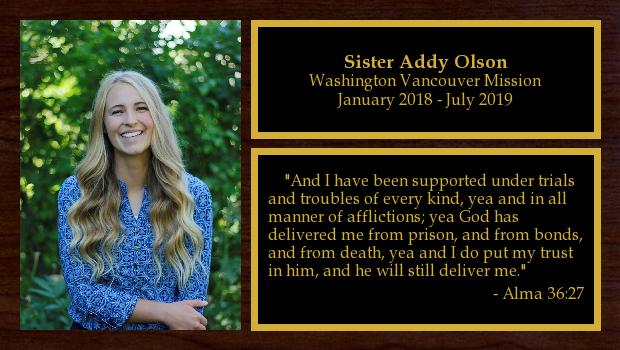 January 2018 to July 2019<br/>Sister Addy Olson