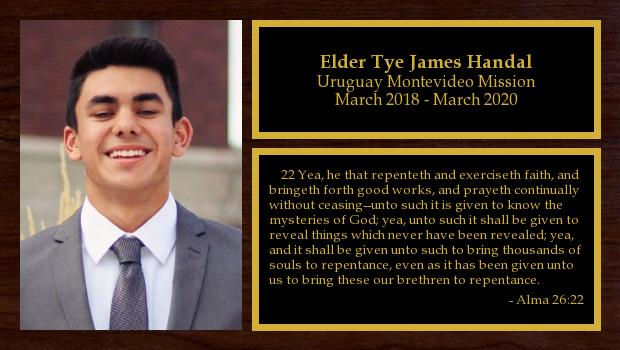 March 2018 to February 2020<br/>Elder Tye James Handal