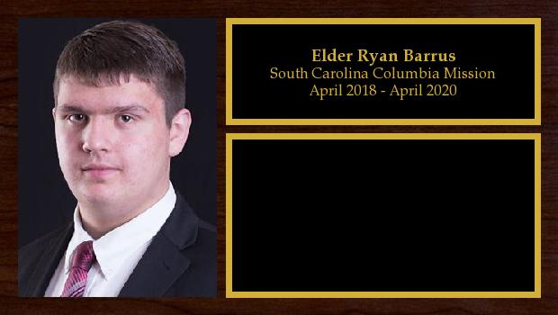 April 2018 to April 2020<br/>Elder Ryan Barrus