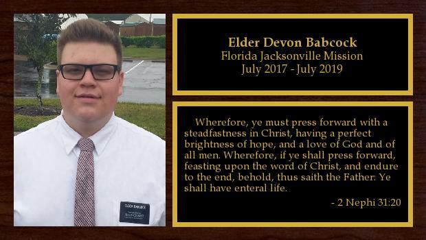 July 2017 to July 2019<br/>Elder Devon Babcock